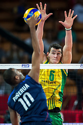 07.09.2014, Jahrhunderthalle, Breslau, POL, FIVB WM, Australien vs Venezuela, Gruppe A, im Bild Kervin Pinerua venezuela #10 Thomas Edgar australia #6 // Kervin Pinerua venezuela #10 Thomas Edgar australia #6 // during the FIVB Volleyball Men's World Championships Pool A Match beween Australia and Venezuela at the Jahrhunderthalle in Breslau, Poland on 2014/09/07.<br /> <br /> ***NETHERLANDS ONLY***