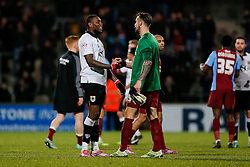 Jay Emmanuel-Thomas of Bristol City congratulates Emergency stand in Goalkeeper Andrew Boyce of Scunthorpe United (who stepped in after both regular goalies suffered broken arms in the first half) after Bristol win 0-2 - Photo mandatory by-line: Rogan Thomson/JMP - 07966 386802 - 17/01/2015 - SPORT - FOOTBALL - Scunthorpe, England - Glanford Park - Scunthorpe United v Bristol City - Sky Bet League 1.