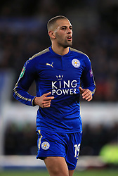 """Leicester City's Islam Slimani during the Carabao Cup, third round match at the King Power Stadium, Leicester. PRESS ASSOCIATION Photo. Picture date: Tuesday September 19, 2017. See PA story SOCCER Leicester. Photo credit should read: Mike Egerton/PA Wire. RESTRICTIONS: EDITORIAL USE ONLY No use with unauthorised audio, video, data, fixture lists, club/league logos or """"live"""" services. Online in-match use limited to 75 images, no video emulation. No use in betting, games or single club/league/player publications."""