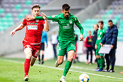 Jurcevic Mario of NK Olimpija Ljubljana vs Muminovic Sanin of NK Aluminij during football match between NK Olimpija Ljubljana and NK Aluminij in Round #27 of Prva liga Telekom Slovenije 2018/19, on April 14th, 2019 in Stadium Stozice, Slovenia Photo by Matic Ritonja / Sportida