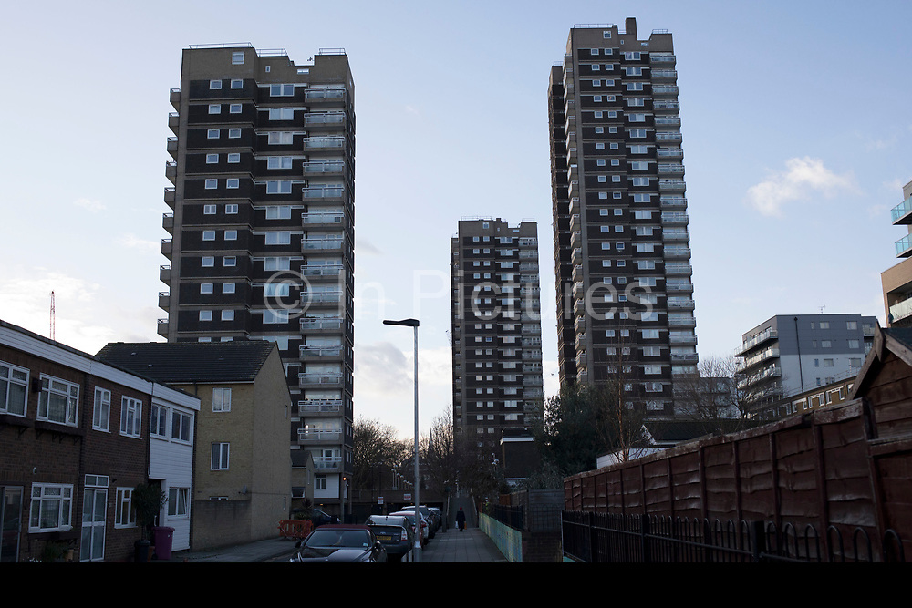 Tower blocks of a housing estate in Shadwell, East London, United Kingdom. Council estates like this are very common all over Tower Hamlets, which is the most densely populated borough in the UK.