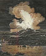 Machine Colourised (AI) Eruption of Mount Etna in July 1787 Copperplate engraving From the Encyclopaedia Londinensis or, Universal dictionary of arts, sciences, and literature; Volume VII;  Edited by Wilkes, John. Published in London in 1810