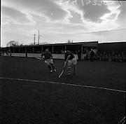 20/01/1962.01/20/1962.20 January 1962.Leinster v Munster Interprovincial Mens Hockey, played at Londonbridge Road, Dublin..L. Byrne 9Munster) advances on the Leinster goal with K. Blackmore (Leinster) in hot pursuit.
