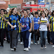 Fenerbahce's Supporters during their Turkish Superleague soccer derby match Fenerbahce between Besiktas at Sukru Saracaoglu stadium in Istanbul Turkey on Sunday 07 October 2012. Photo by TURKPIX