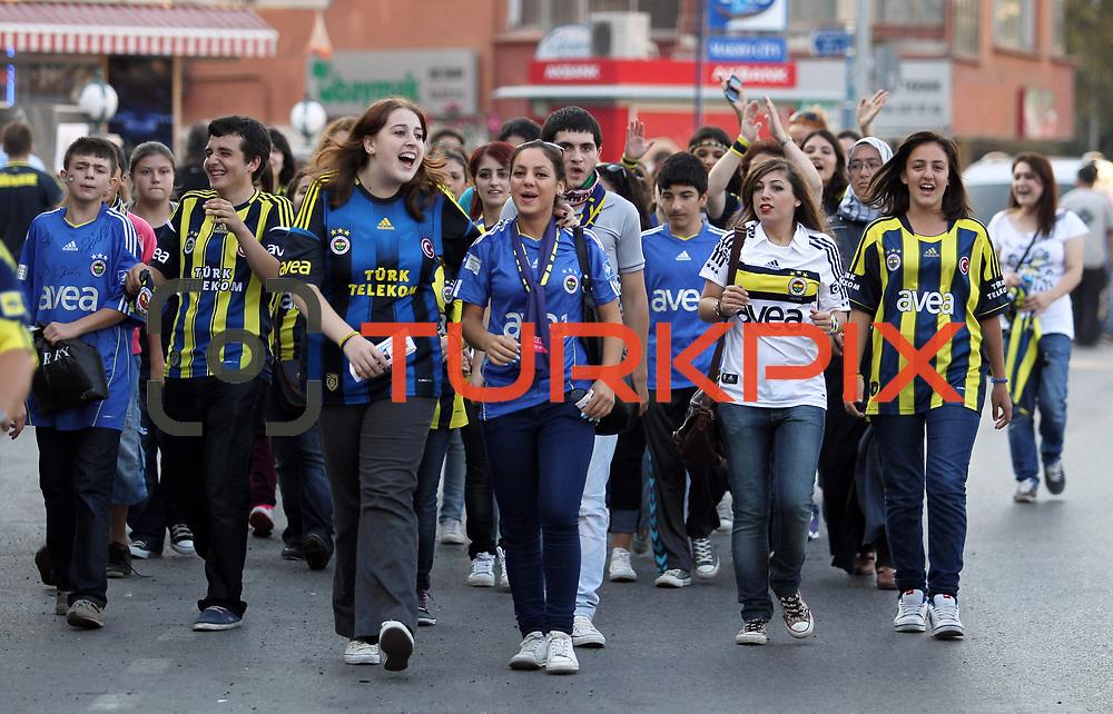 Fenerbahce's Supporters during their Turkish Superleague soccer derby match Fenerbahce between Besiktas at Sukru Saracaoglu stadium in Istanbul Turkey on Sunday 07 October 2012. Photo by TURKPIX