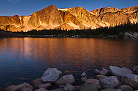 Sunrise over the Snowy Range and Mirror Lake.  Medicine bow Mountains, Wyoming.  USA
