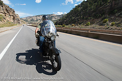Rowdy Schenck riding his 1928 Harley-Davidson JD during Stage 10 (278 miles) of the Motorcycle Cannonball Cross-Country Endurance Run, which on this day ran from Golden to Grand Junction, CO., USA. Monday, September 15, 2014.  Photography ©2014 Michael Lichter.