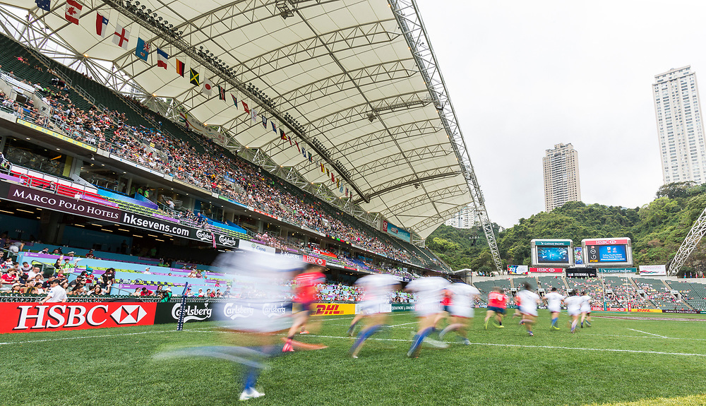Russia vs South Korea during their HSBC World Rugby Sevens Series Bowl Quarter Final match as part of the Cathay Pacific / HSBC Hong Kong Sevens at the Hong Kong Stadium on 09 April 2017 in Hong Kong, China. Photo by Mike Pickles / Future Project Group