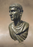"""Full view of Roman Bronze sculpture bust known as 'Sylla"""" from the tablinium of the Villa of the Papyri in Herculaneum, Museum of Archaeology, Italy ..<br /> <br /> If you prefer to buy from our ALAMY STOCK LIBRARY page at https://www.alamy.com/portfolio/paul-williams-funkystock/greco-roman-sculptures.html . Type -    Naples    - into LOWER SEARCH WITHIN GALLERY box - Refine search by adding a subject, place, background colour, museum etc.<br /> <br /> Visit our ROMAN WORLD PHOTO COLLECTIONS for more photos to download or buy as wall art prints https://funkystock.photoshelter.com/gallery-collection/The-Romans-Art-Artefacts-Antiquities-Historic-Sites-Pictures-Images/C0000r2uLJJo9_s0"""