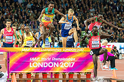 London, August 08 2017 . Jairus Kipchoge Birech, Kenya, takes an early lead in the men's 3,000m steeplechase final on day five of the IAAF London 2017 world Championships at the London Stadium. © Paul Davey.