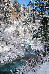A frosty day at Palisades Creek in Swan Valley Idaho. When the temperature drops way below freezing, the rocks under the creek become covered with is changing the color of the creek.