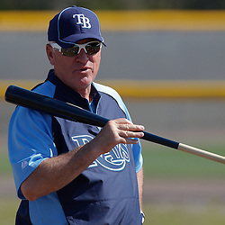 February 20, 2011; Port Charlotte, FL, USA; Tampa Bay Rays manager Joe Maddon during spring training at Charlotte Sports Park.  Mandatory Credit: Derick E. Hingle