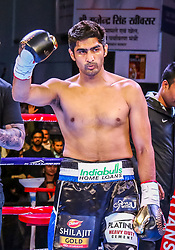 December 23, 2017 - Jaipur, Rajasthan, India - An Indian Boxer Vijender Singh during the  WBO Asia Pacific and WBO Oriental Super Middleweight Championship at SMS Indoor Stadium in Jaipur ,Rajasthan,India on 23 December 2017.Vijender Singh beats Ernest Amuzu for 10th successive victory, defends his WBO Asia Pacific and Oriental titles against Ghana's Ernest Amuzu in a Super Middleweight clash. (Credit Image: © Vishal Bhatnagar/NurPhoto via ZUMA Press)