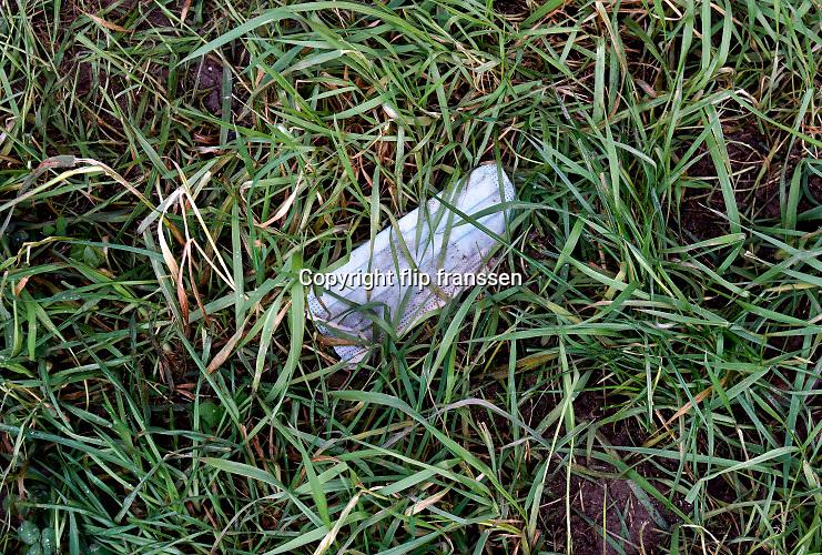 Nederland, Nijmegen, 10-12-2020 In het gras heeft iemand een mondkapje weggegooid . Het is een nieuwe vorm van afval en vervuiling en bedreiging van het milieu . Foto: ANP/ Hollandse Hoogte/ Flip Franssen