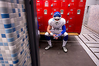 Christian Brothers High School Falcons Tyler Vander Waal (18), prays with his team inside the locker room before they face the Oakdale Mustangs in the Sac-Joaquin Section Division III championship football game at Lincoln High School in Stockton CA,  Friday Dec 2, 2016.<br /> photo by Brian Baer