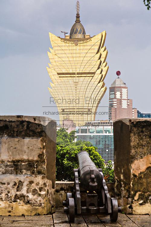 Grand Lisboa Hotel and Casino seem from Mount Hill in Macau.
