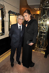 BERNIE ECCLESTONE and his daughter TAMARA ECCLESTONE at a party to celebrate the launch of a collection of jewellery by Tamara Ecclestoen for jewellers Moussaieff held at their store in New Bond Street, London on 9th December 2008.