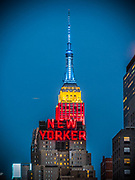 The Empire State Building and the New Yorker (Wyndham Hotel) are in Manhattan, New York City.