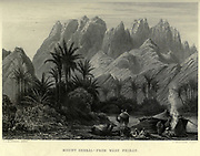 Mount Serbal from Wady Feiran Steel engraving of from 'Picturesque Palestine, Sinai and Egypt' by Wilson, Charles William, Sir, 1836-1905; Lane-Poole, Stanley, 1854-1931 Volume 4. Published in 1884 by J. S. Virtue and Co, London