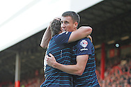 Derby County Chris Martin celebrates his goal during the Sky Bet Championship match between Brentford and Derby County at Griffin Park, London, England on 1 November 2014.
