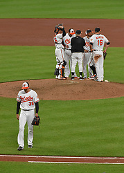 June 21, 2017 - Baltimore, MD, USA - Baltimore Orioles pitcher Kevin Gausman is taken out of the game in the sixth inning against the Cleveland Indians at Oriole Park at Camden Yards in Baltimore on Wednesday, June 21, 2017. The Indians won, 5-1. (Credit Image: © Lloyd Fox/TNS via ZUMA Wire)