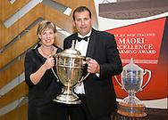Kristen and Dean Nikora, winners. Ahuwhenua Trophy - Bank of New Zealand Maori Excellence in Farming Award ceremony held at the Rotorua Event Centre, Rotorua, New Zealand, June 06 2008.<br /> <br /> MANDATORY CREDIT ©ALPHAPIX/John Cowpland.<br /> <br /> www.alphapix.co.nz<br /> info@alphapix.co.nz<br /> phone: 0272 533464
