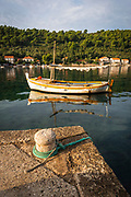 Fishing boat and dock, Sipanska Luka, Sipan Island, Dalmatian Coast, Croatia