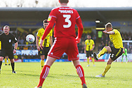Burton Albion defender Kyle McFadzean (5) scores a goal from a direct free kick during the EFL Sky Bet League 1 match between Burton Albion and Accrington Stanley at the Pirelli Stadium, Burton upon Trent, England on 23 March 2019.