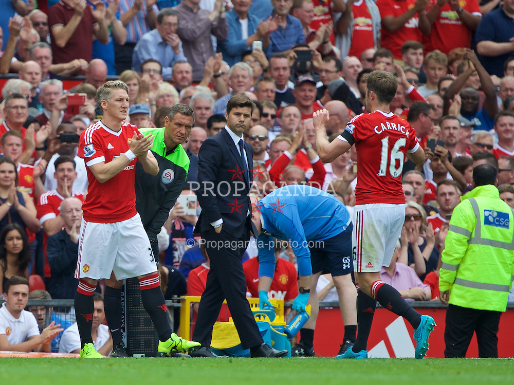 MANCHESTER, ENGLAND - Saturday, August 8, 2015: Manchester United's substitute Bastian Schweinsteiger makes his debut replacing Michael Carrick against Tottenham Hotspur during the Premier League match at Old Trafford. (Pic by David Rawcliffe/Propaganda)