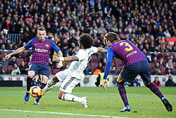 October 28, 2018 - Barcelona, Catalonia, Spain - Marcelo Vieira scores during the match between FC Barcelona and Real Madrid CF, corresponding to the week 10 of the Liga Santander, played at the Camp Nou, on 28th October 2018, in Barcelona, Spain. (Credit Image: © Joan Valls/NurPhoto via ZUMA Press)
