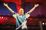 Ian White celebrates victory over Stephen Buntingduring the First Round of the BetVictor World Matchplay Darts at the Empress Ballroom, Blackpool, United Kingdom on 19 July 2015. Photo by Shane Healey.