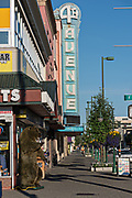 View of the shops along 4th Avenue in downtown Anchorage, Alaska.