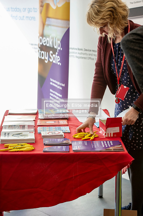 Pictured: Rachel Charlton, Trading Standards gets the leaflets associated with the campaign ready<br /><br />Police Scotland is warning that anyone can be a victim of doorstep crime after householders lost hundreds of thousands of pounds to scammers. <br /><br />The Shut Out Scammers campaign was launched today at the Clydesdale Bank, George Street, Edinburgh.  Chief Superintendent John McKenzie was joined by colleagues from Police Scotland, Clydesdale Bank, Care and Repair Edinburgh, Crime Stoppers and Trading Standards.<br /><br />Ger Harley | EEm 14 APRIL 2019
