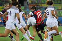 August 08, 2016; Rio de Janeiro, Brazil; USA Women's Eagles Sevens Jessica Javelet tackles against France during the Women's Rugby Sevens 5th Place Play-Off match on Day 3 of the Rio 2016 Olympic Games at Deodoro Stadium. Photo credit: Abel Barrientes - KLC fotos