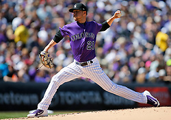 April 8, 2018 - Denver, CO, U.S. - DENVER, CO - APRIL 08: Colorado Rockies starting pitcher Kyle Freeland (21) pitches during a regular season MLB game between the Colorado Rockies and the visiting Atlanta Braves on April 8, 2018 at Coors Field in Denver, CO. (Photo by Russell Lansford/Icon Sportswire) (Credit Image: © Russell Lansford/Icon SMI via ZUMA Press)