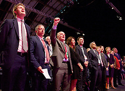 Labour Party Conference<br /> at Manchester Central, Manchester, Great Britain <br /> 24th September 2014 <br /> <br /> Red flag song and finale of the conference <br /> <br /> <br /> Photograph by Elliott Franks <br /> Image licensed to Elliott Franks Photography Services