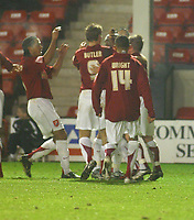 Photo: Dave Linney.<br />Walsall v Lincoln City. Coca Cola League 2. 16/02/2007.<br />Walsall's Hector Sam celebrates with his team mates after scoring for Walsall to make it 1-1.
