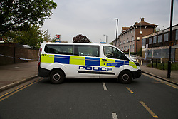 © Licensed to London News Pictures. 27/04/2020. London, UK. Crime scene on Freemasons Road in Newham, East London. Police launch a murder investigation following stabbing of a man in his mid-20s. Police were called after 10.30pm on Sunday 26 April to Lambert Road in Newham. Photo credit: Dinendra Haria/LNP