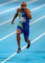Churandy Martina in action on the semi final 60 meter during the Dutch Indoor Athletics Championship on February 22, 2020 in Omnisport De Voorwaarts, Apeldoorn