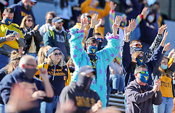Oct 31, 2020; Morgantown, West Virginia, USA; West Virginia Mountaineers fans celebrate during the second quarter against the Kansas State Wildcats at Mountaineer Field at Milan Puskar Stadium. Mandatory Credit: Ben Queen-USA TODAY Sports
