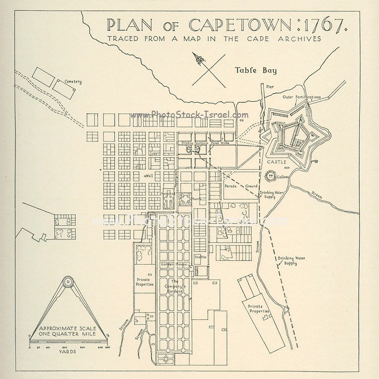 Plan of Cape Town in 1767 From the book ' Eighteenth century architecture in South Africa ' by Geoffrey Eastcott Pearse. Published by A.A. Balkema, Cape Town in 1933 G. E. Pearse was among the first to bring Cape architecture to a wide audience in a scholarly way. Eighteenth Century Architecture in South Africa was the result of many years research on the topic and remains an important reference work for the subject.