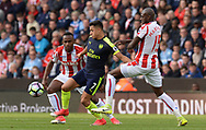 Alexis Sanchez of Arsenal ©  in action.  Premier league match, Stoke City v Arsenal at the Bet365 Stadium in Stoke on Trent, Staffs on Saturday 13th May 2017.<br /> pic by Bradley Collyer, Andrew Orchard sports photography.