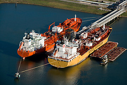 Aerial view of docked tankers in the Port of Houston.