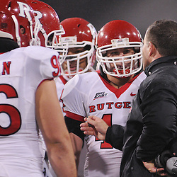 Oct 23, 2009; West Point, N.Y., USA; Rutgers head coach Greg Schiano gives instructions to his team during Rutgers' 27 - 10 victory over Army at Michie Stadium.