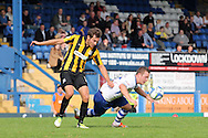 Bury's Shaun Beeley is fouled by Southend's Will Atkinson (l). Skybet football league two match, Bury v Southend Utd at Gigg Lane in Bury, England on Sat 21st Sept 2013. pic by David Richards/Andrew Orchard sports photography