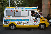 Mr Whippy ice cream van donates free ice creams on 16th June 2017 in North Kensington, London, United Kingdom. The Grenfell Tower fire occurred on 14th June 2017 at the 24-storey block of public housing flats in North Kensington, West London. It caused at least 80 deaths and over 70 injuries, yet the actual numbers have yet to be confirmed