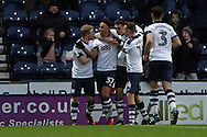 Preston North End striker Callum Robinson (37) scores a goal 2-0 and celebrates  during the EFL Sky Bet Championship match between Preston North End and Brighton and Hove Albion at Deepdale, Preston, England on 14 January 2017.