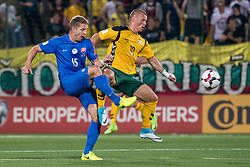 VILNIUS, June 11, 2017  Tomas Hubocan (L) of Slovakia vies with Darvyda Sernas of Lithuania during the FIFA World Cup European Qualifying Group F match between Lithuania and Slovakia at LFF Stadium in Vilnius, Lithuania on June 10, 2017. Slovakia won 2-1. (Credit Image: © Alfredas Pliadis/Xinhua via ZUMA Wire)