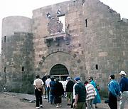 Swan Hellenic tour group visiting Aqaba Castle, Mamluk Castle, Aqaba, Jordan,  Crusaders fortress in 1998