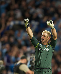 MANCHESTER, ENGLAND - Monday, April 30, 2012: Manchester City's goalkeeper Joe Hart celebrates after beating Manchester United 1-0 during the Premiership match at the City of Manchester Stadium. (Pic by David Rawcliffe/Propaganda)